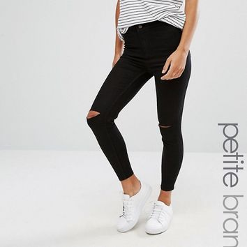 New Look Petite Slash Knee Skinny Jeans at asos.com
