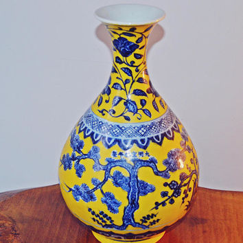 Yellow And Cobalt Asian Vase, Chinese Porcelain Vase, Bottle Shape Vase