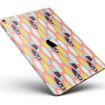 "The Coral Colored SurfBoard Pattern Full Body Skin for the iPad Pro (12.9"" or 9.7"" available)"