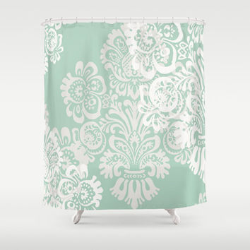 Shower Curtain, Romantic Home Decor, Bathroom Decor, Sage Green Decor, Boho Decor, Fabric Shower Curtain, Damask Decor