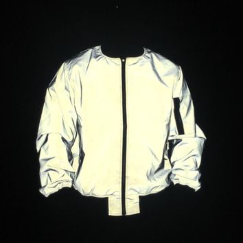 Trendy Men full reflective jacket night reflect light hip hop bomber jacket women zipper flight jackets and coats casual windbreaker AT_94_13