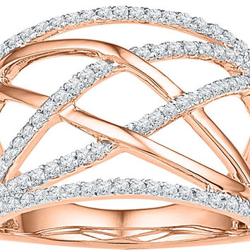 10kt Rose Gold Womens Round Diamond Criss Cross Crossover Cocktail Ring 1/3 Cttw 108842