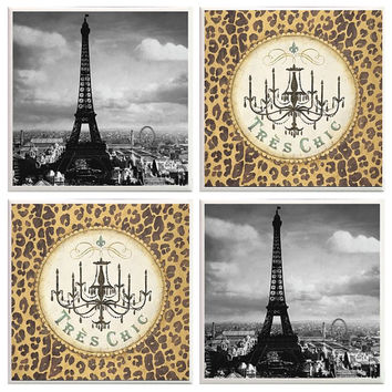 Paris Coasters, Black and white Paris, Eiffel Tower, Tres Chic, leopard print decor, Paris Decor, home decor, Eiffel Tower coasters, french
