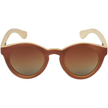 Dark Grain Bamboo Wood Sunglasses with Round Frame
