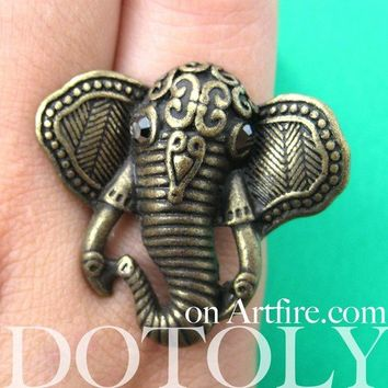 Adjustable Elephant Shaped Animal Ring in Brass with Textured Detail | DOTOLY