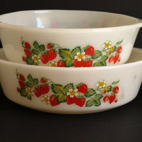 Retro Vintage Anchor Hocking Strawberry pattern Casserole Dishes - Serving Dishes - Set of 2 - Made in USA