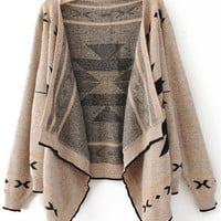Khaki Long Sleeve Asymmetrical Cardigan Sweater - Sheinside.com