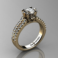 Classic 14K Yellow Gold 1.0 Ct White Sapphire Diamond Solitaire Engagement Ring R1027-14KYGDWS