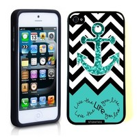 Iphone 5 5S Case Thinshell Case Protective Iphone 5 5S Case Shawnex Love Your Life Teal Glitter Anchor