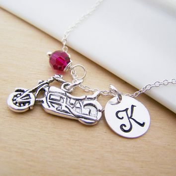 Motorcycle Charm Swarovski Birthstone Initial Personalized Sterling Silver Necklace / Gift for Her