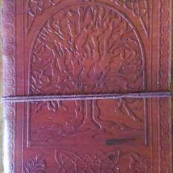 """5"""" X 7"""" Tree Of Life Leather Blank Book W-cord"""