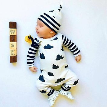 New 2017 Baby Rompers + Cap Long Sleeve Printing Baby Boy Clothing Set Children Jumpsuits Infant Clothing Newborn Baby Girl Clot