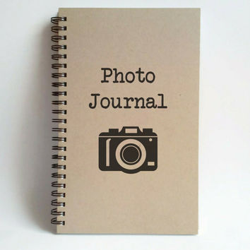Photo Journal, camera, 5X8 Journal, spiral notebook, bound diary, sketchbook, brown kraft notebook, white journal, handmade, photographers