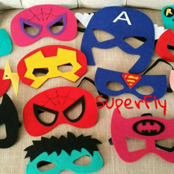 One (1) Superhero Felt Mask - Superman, Batman, Ironman, Batgirl, Supergirl, Spiderman Spidergirl, Wonder Woman, Captain America, Hulk