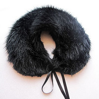 Black  faux fur Collar, Humdinger, Polyester faux fur, Women Accessories, Winter, Gothic