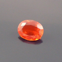 Fire Opal: 0.66ct Chery Red Oval Shape Gemstone, Loose Natural Hand Made Mexican Faceted Precious Gem, Artistic Designer, Lapidary Facet O15