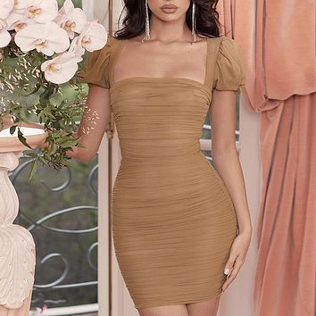 Pleated Lantern Sleeve Mesh Dress Sexy New Open Back Word Collar Chest Slim Skirt