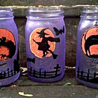 Halloween Luminaries Candy Jars Handpainted Mason Jars Black Cat Halloween Wolf Halloween Witch Graveyard Design Halloween Decor