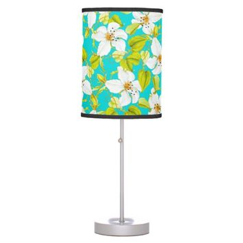 White Floral Table Lamp