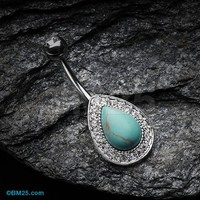 Avice Turquoise Multi-Gem Belly Button Ring