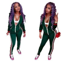 Green Tracksuit With Contrast Bands