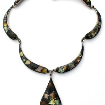 """Mexican Abalone Necklace Silver 17"""" Vintage"""