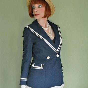 Vintage Sailor Jacket 1960s Navy Blue Spring Blazer with Sailor Collar