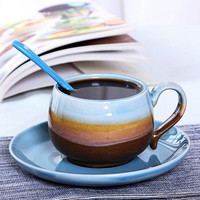 Novelty Gifts Kiln Features Handmade Coffee Cup Set Set Fancy Ceramic Mug With Plate Spoon Personal Retro Customized