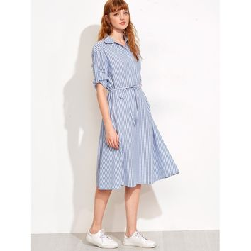 Vertical Stripe Self Tie Shirtwaist Dress