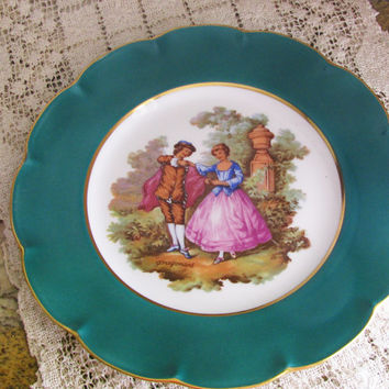 Victorian France Limoges Fragonard, Colonial Courting Couple Green Decorative Plate, Perfect  Wedding Gift