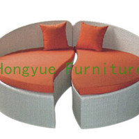 New pe rattan round sectional sofa bed,outdoor furniture