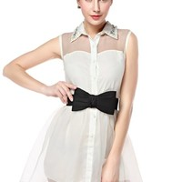 TopStyliShop Women's Mesh Shoulder Bowtie Belt Dress with Pearl Neck F1104