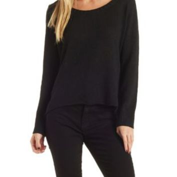 Black Open Back Scoop Neck Sweater by Charlotte Russe