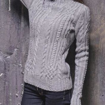 Grey Braid Long Sleeve High Neck Slouchy Casual Pullover Sweater