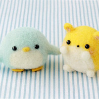 DIY handmade felt wool Little Penguin and a small hamster --- Japanese kit package
