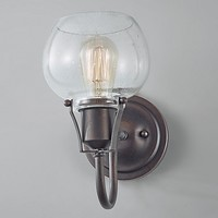 Feiss® Urban Renewal Wall Sconce in Rustic Iron with Clear Seeded Glass Shade
