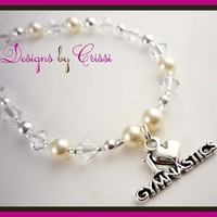 Design your own Gymnastics Charm necklace - choose your crystal & pearl color(s)!