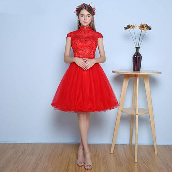 Curto Para Formatura Round Neck Red Short Prom Dresses High Quality Tulle Vintage Key Short Prom Gown