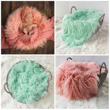 2017 New Infant Baby Swaddle Blanket Faux Fur Soft Blanket Fur Wool Mat Background Carpet Newborn Photography Props Basket