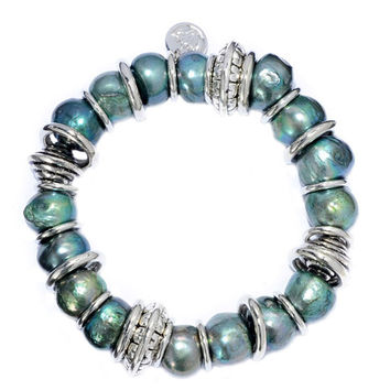 """6"""" 10.5-11mm Green Baroque Shaped Freshwater Pearl and Stainless Steel Rings"""