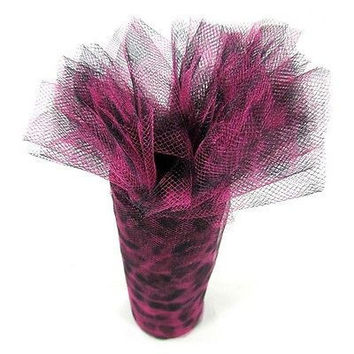Tulle Roll Fabric Net with Cheetah Print, 6-inch, 10-yard, Fuchsia