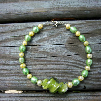 Spring Anklet Freshwater Pearl Anklet Green Anklet Yellow Anklet Lampwork Glass Charm Anklet Gypsy Boho Bohemian Cottage Chic Jewelry