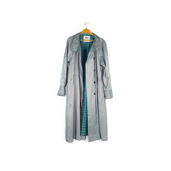 80s LONDON FOG IRIDESCENT seafoam green trench coat - vintage 1980s - large