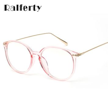 Ralferty Transparent Glasses Frame With Clear Lens Oversized Oval Eyeglasses Women Gold Myopia Optical Frames Spectacles 3206