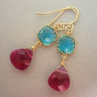 Red and Blue Wedding, Ruby Red and Turquoise Crystal Earrings, Bridesmaids Jewelry