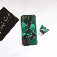 Green geometry phone case for iPhone 7 7plus 6 6S 6plus 6Splus 1109J01
