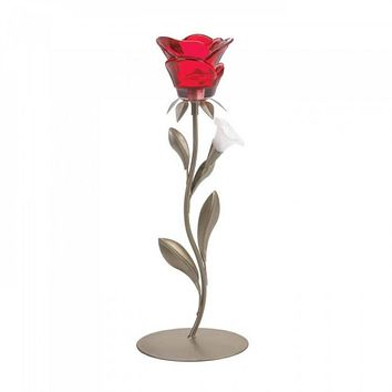 Romantic Single Red Rose Candleholder
