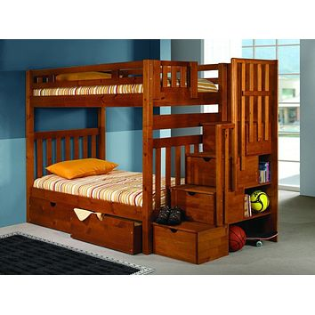 Elliot Honey Bunk Bed with Stairs and Storage