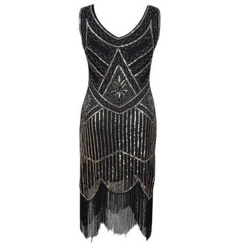 Vintage 1920s Gold Silver Flapper Sequins Great Gatsby Dress