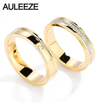 AULEEZE Solitaire 0.20cttw Round Cut Natural Diamond Couple Rings 18k Yellow Gold Men and Women Engagement Wedding Ring